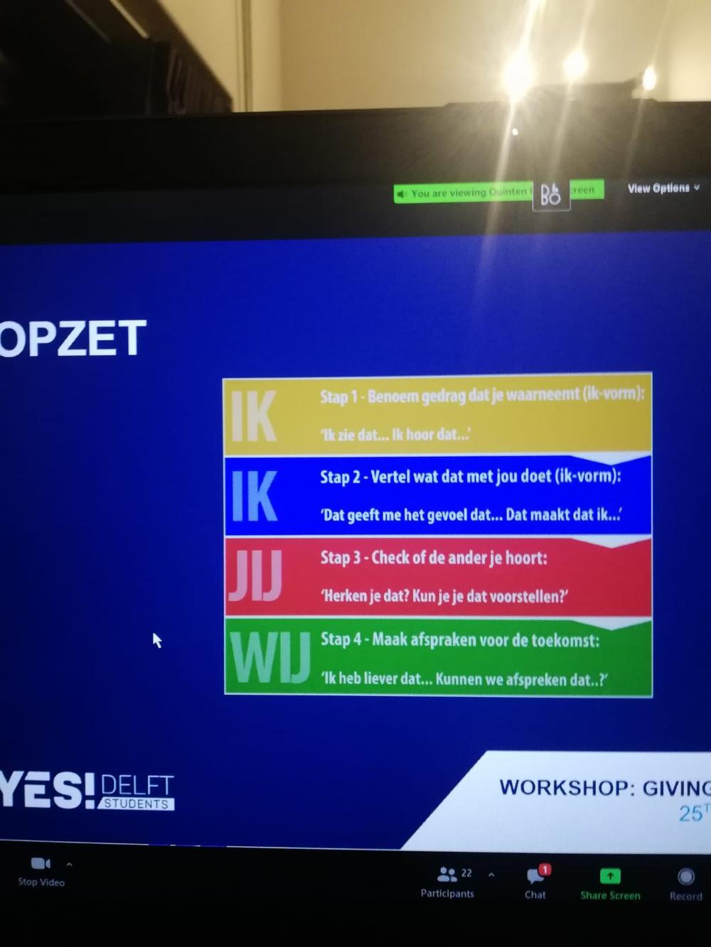 Workshop YES!Delft Positief en effectief feedback geven
